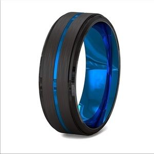 Men's Blue Black Brushed Stainless Steel Ring Band
